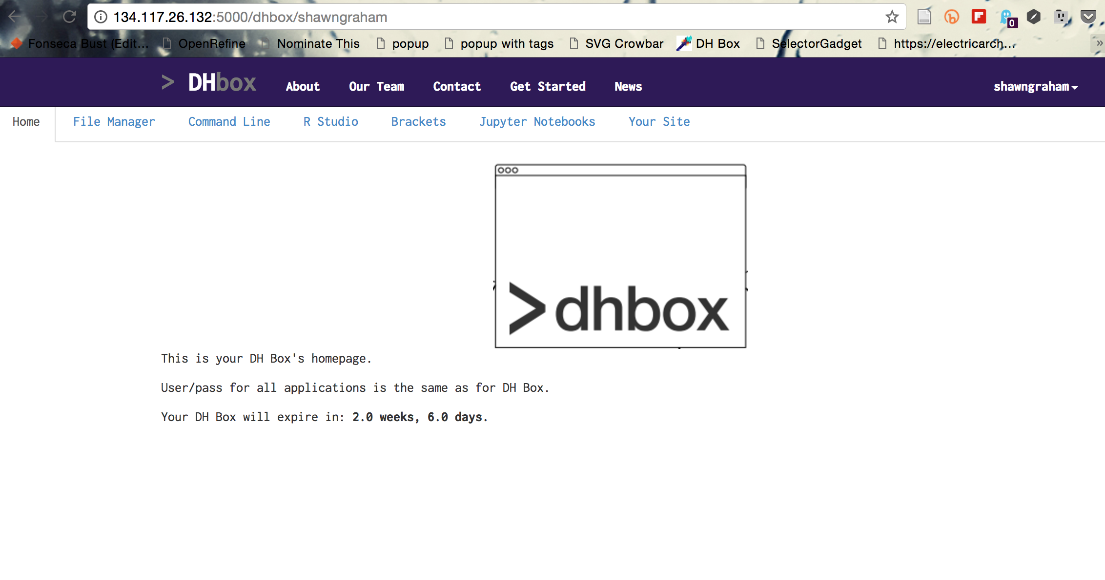 The applications in DHBox